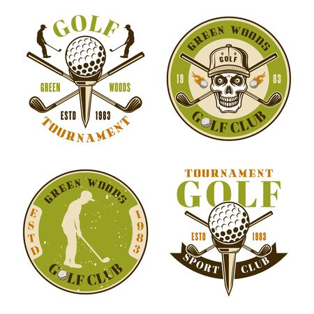 Golf club set of four colored vector emblems, badges, labels in vintage style isolated on white background