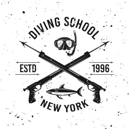 Diving school vector emblem with two crossed spearguns on background with removable grunge textures