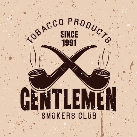 Two crossed smoking pipes vector vintage emblem with text gentlemen smokers club Ilustração