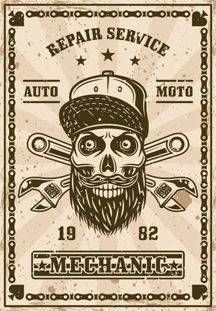 Bearded skull in cap and crossed adjustable wrenches poster in vintage style vector illustration. Layered, separate grunge textures and text Ilustração