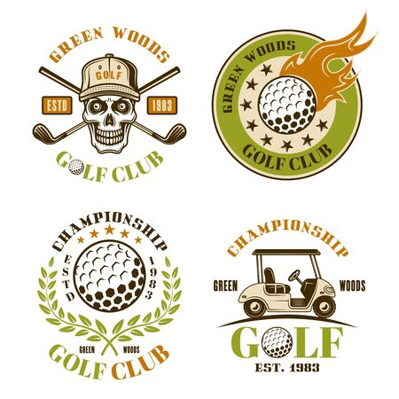Golf set of four colored vector emblems, badges, labels in vintage style isolated on white background Foto de archivo - 127740655