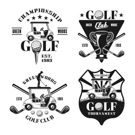 Set of four golf vector monochrome emblems, badges, labels in vintage style isolated on white background