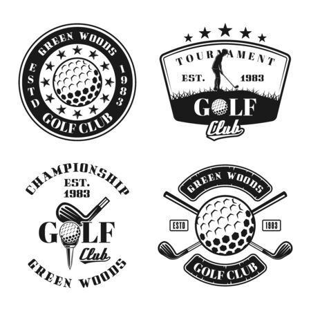 Golf set of four vector emblems, badges, labels in vintage monochrome style isolated on white background Illustration