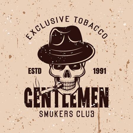 Gentlemen smokers club vector vintage emblem on background with grunge textures Stock Illustratie