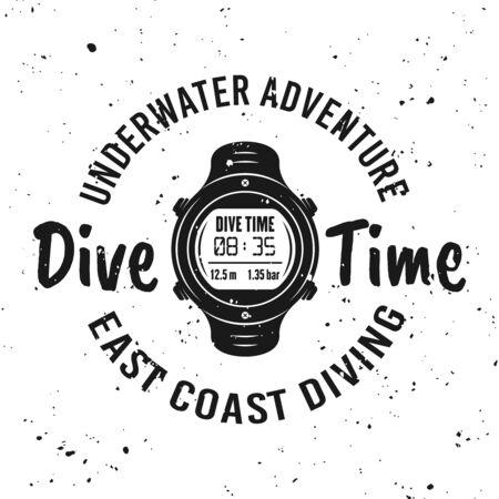 Dive time vector monochrome emblem, label, badge or logo on background with removable grunge textures Foto de archivo - 127896048