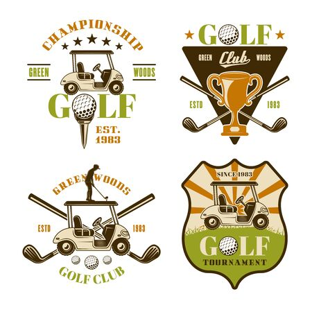 Golf and golfing set of vector emblems, badges, labels. Vintage colored illustration isolated on white background