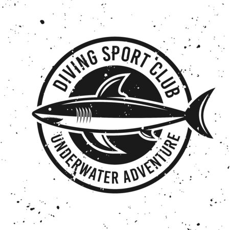 Diving club monochrome round emblem with shark vector illustration on background with removable grunge textures Stock Illustratie