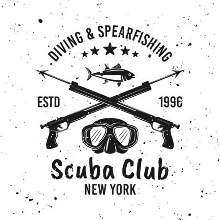 Scuba diving club and spearfishing vector monochrome emblem, label, badge or logo on background with removable grunge textures Ilustração