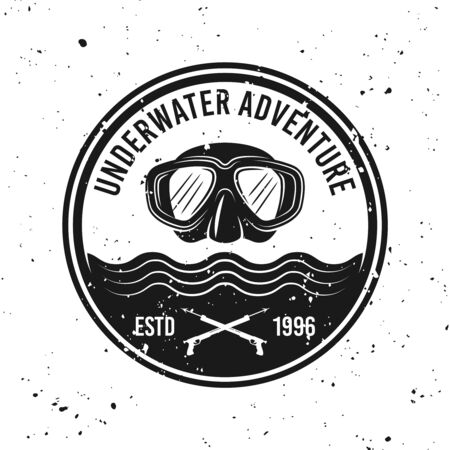 Underwater adventure and diving vector round monochrome emblem, label, badge or logo on background with removable grunge textures Foto de archivo - 127896053