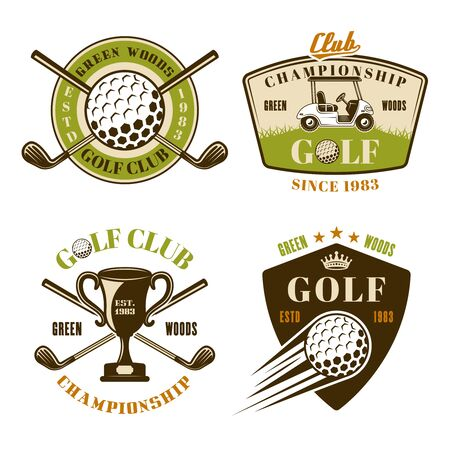 Golf club set of vector colored emblems, badges, labels in vintage style isolated on white background Ilustração