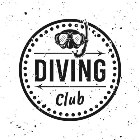 Scuba diving club monochrome round emblem, label, badge or logo vector illustration on background with removable grunge textures