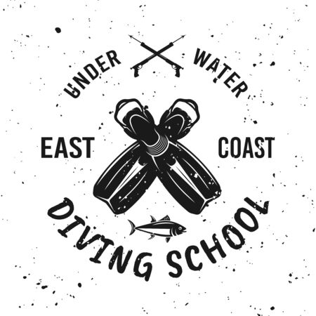 Diving school vector monochrome emblem, label, badge or logo on background with removable grunge textures Foto de archivo - 127896057