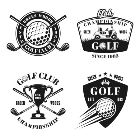 Golf and golfing vector monochrome emblems, badges, labels in vintage style isolated on white background