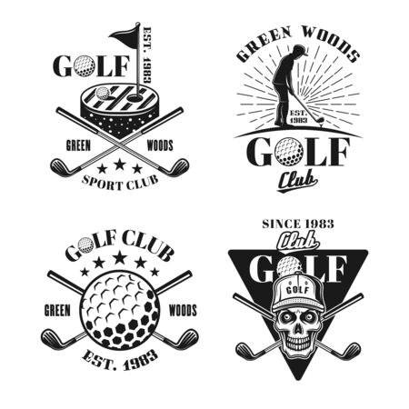 Golf set of four vector black and white isolated emblems, badges, labels in vintage style