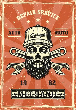 Mechanic skull with beard in cap and crossed adjustable wrenches retro poster vector illustration. Layered, separate grunge textures and text