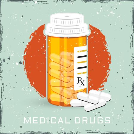 Orange bottle with medical drugs or can of pills vector colored illustration Foto de archivo - 127896055