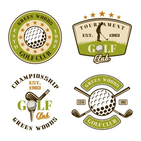 Golf club set of vector emblems, badges, labels. Vintage colored illustration isolated on white background