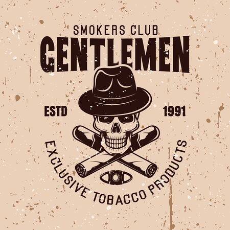 Gentlemen smokers club vector vintage emblem with skull in hat and two crossed cigars Ilustração