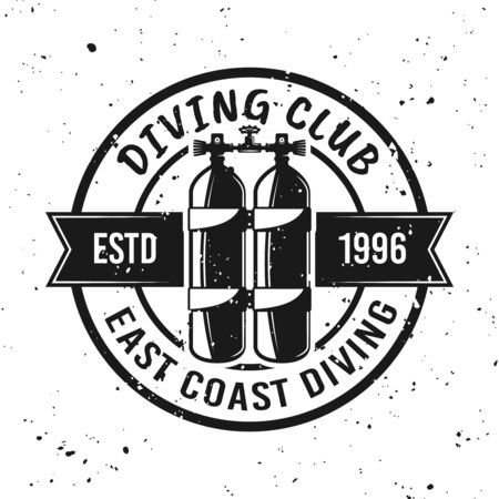 Scuba diving club vector monochrome emblem, label, badge or logo on background with removable grunge textures