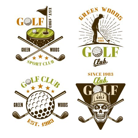 Golf set of vector colored emblems, badges, labels in vintage style isolated on white background