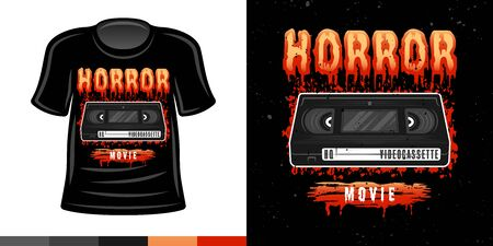 Horror video cassette 90s style vector colored t shirt apparel design print illustration
