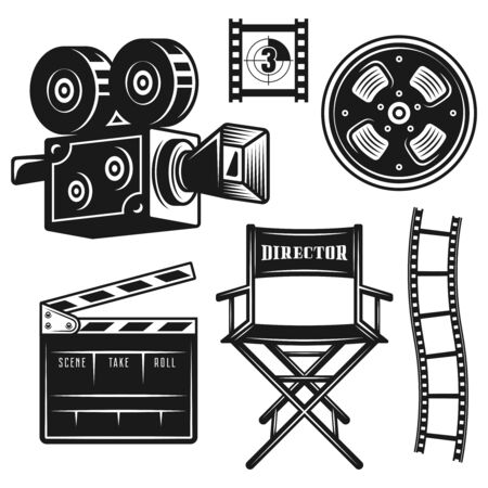 Filmmaker or director equipment set of vector monochrome objects and design vintage elements isolated on white background