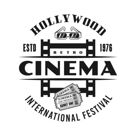 Cinema festival vector emblem, label, badge   with film strip frame in monochrome vintage style isolated on white background Foto de archivo - 129133336