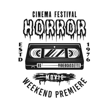 Horror movie festival  vector emblem, label, badge   with film strip frame in monochrome vintage style isolated on white background Foto de archivo - 129133341