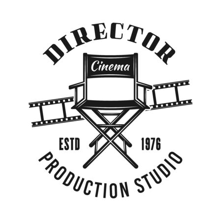 Director chair vector emblem, label, badge   in monochrome vintage style isolated on white background Foto de archivo - 129301765