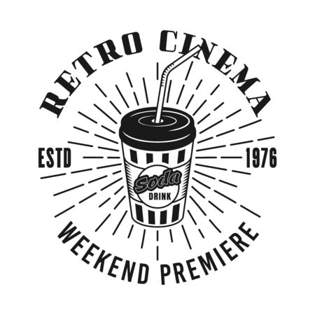 Retro cinema vector emblem, label, badge with soda cup in monochrome vintage style isolated on white background