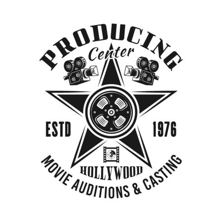 Producing and casting center vector emblem, label, badge  in monochrome vintage style isolated on white background Foto de archivo - 129301820