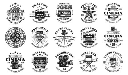 Cinema and cinematography set of fifteen vector emblems, labels, badges in monochrome vintage style isolated on white background Foto de archivo - 129301822