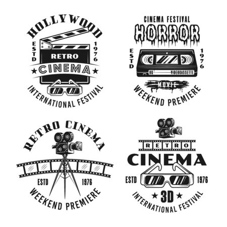 Retro movies and cinema set of four vector emblems, labels, badges  in monochrome vintage style isolated on white background Foto de archivo - 129301828