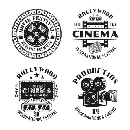 Cinema and cinematography set of four vector emblems, labels, badges  in monochrome vintage style isolated on white background Foto de archivo - 129301841