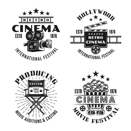 Retro cinema set of four vector emblems, labels, badges in monochrome vintage style isolated on white background Foto de archivo - 129301837
