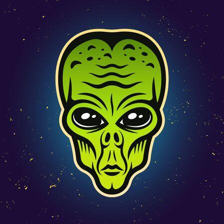 Alien green head colored vector illustration on gradient background Foto de archivo - 129301844