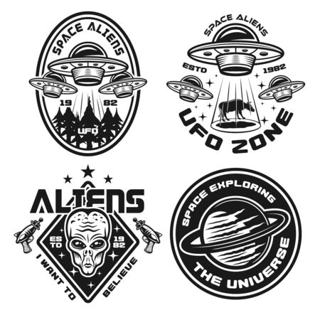 Ufo and aliens set of vector emblems, labels, badges or logos in vintage monochrome style isolated on white background