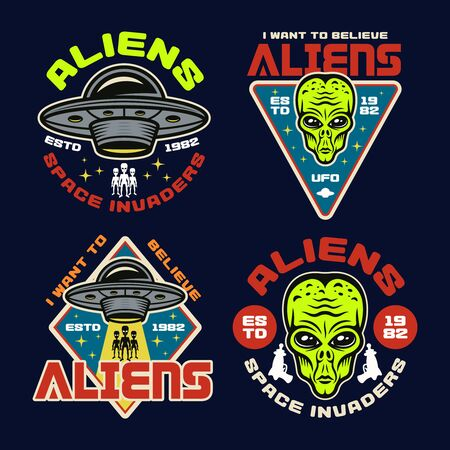 Aliens and ufo set of four colored vector emblems, labels, badges, stickers or t-shirt prints in vintage style on dark background