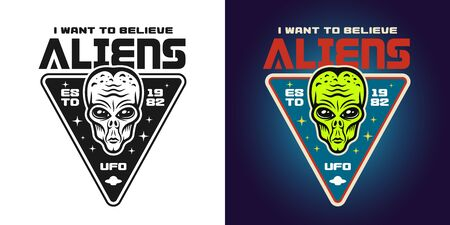 Alien green head vector emblem, badge, label, logo or t-shirt print in two styles monochrome and colored