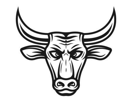 Bull head vector illustration in vintage black and white style isolated on white background