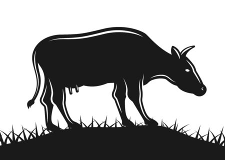 Cow grazing on grass field vector silhouette illustration isolated on white background