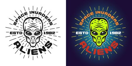 Alien green head vector emblem, badge, label, logo or t-shirt print in two styles monochrome and colored with text and rays