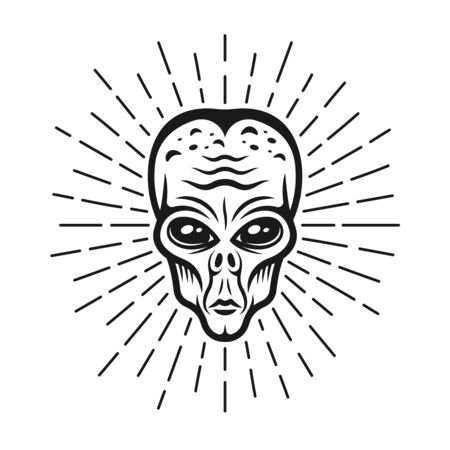 Alien head with rays vector monochrome illustration in vintage style isolated on white background Ilustrace