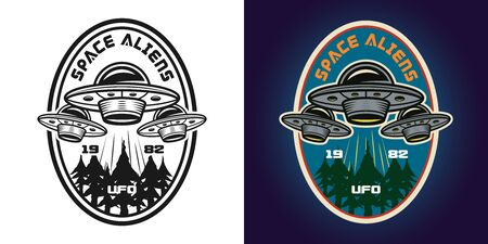 Ufo attack vector emblem, badge, label, logo or t-shirt print in two styles monochrome and colored Ilustrace