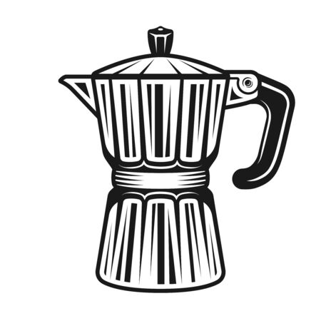 Moka pot traditional electric coffee maker vector monochrome illustration isolated on white background Ilustrace
