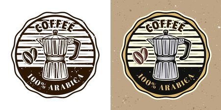 Coffee shop vector round emblem, badge, label or logo with moka pot. Two styles monochrome and colored with removable textures Ilustrace