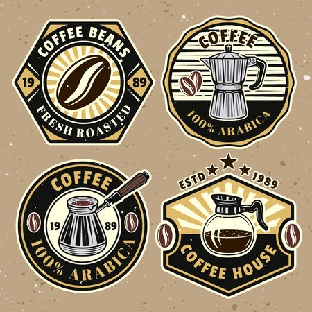 Coffee set of four colored vector badges, emblems, labels or logos on background with removable textures Ilustrace