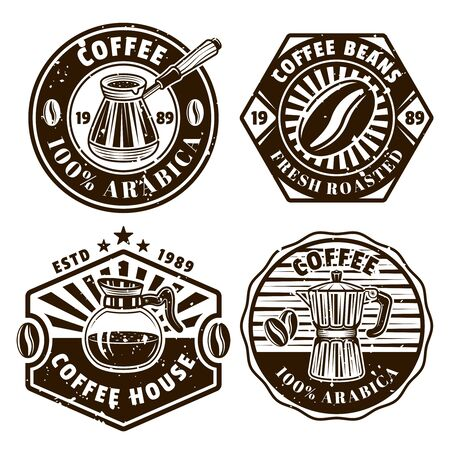 Coffee set of four vector emblems, badges, labels or logos in vintage monochrome style isolated on white background Ilustrace
