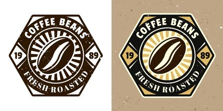 Coffee bean vector emblem, badge, label or logo. Two styles monochrome and colored with removable textures