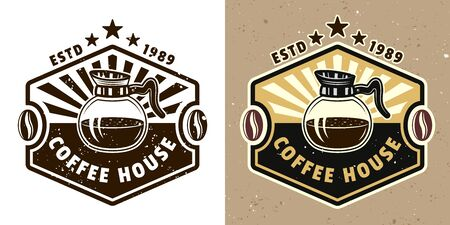 Coffee house vector emblem, badge, label or logo with glass pot. Two styles monochrome and colored with removable textures